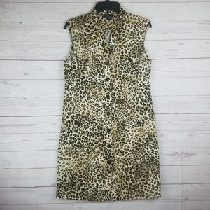 Nina Leonard Leopard Print Sleeveless Dress